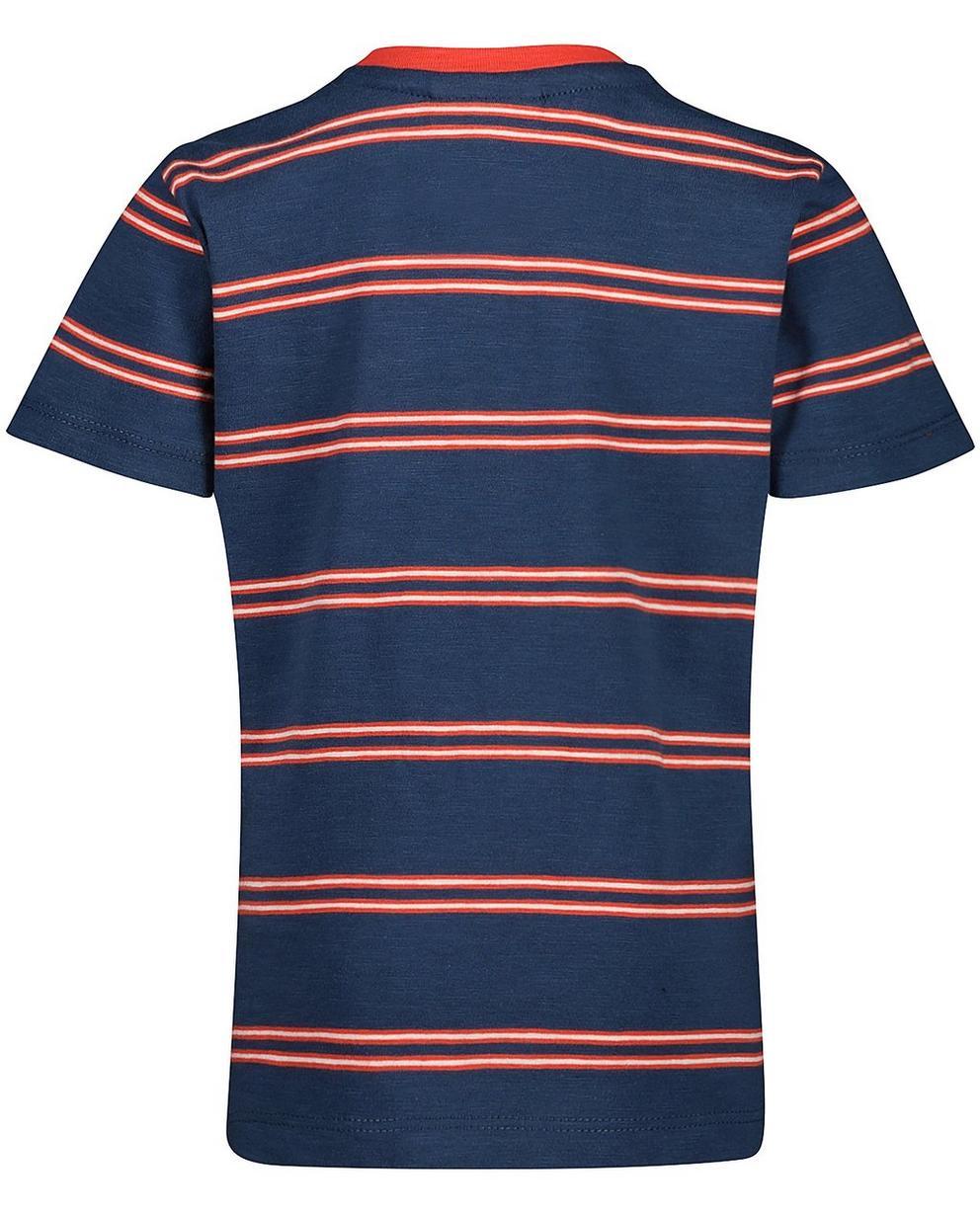 T-Shirts - Navy - Gestreiftes T-Shirt mit Brusttasche